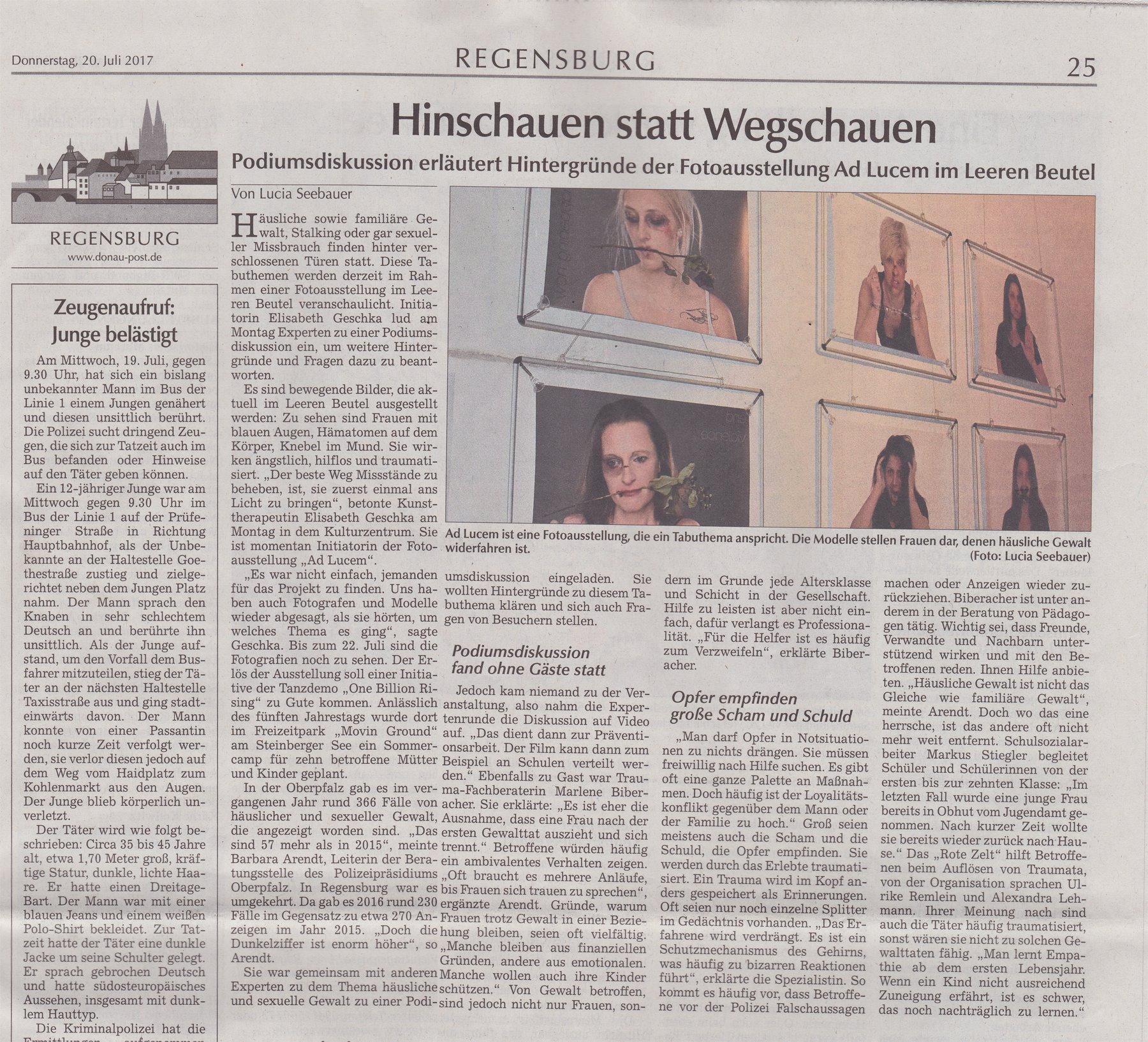 Donaupost Artikel vom 18.07.17