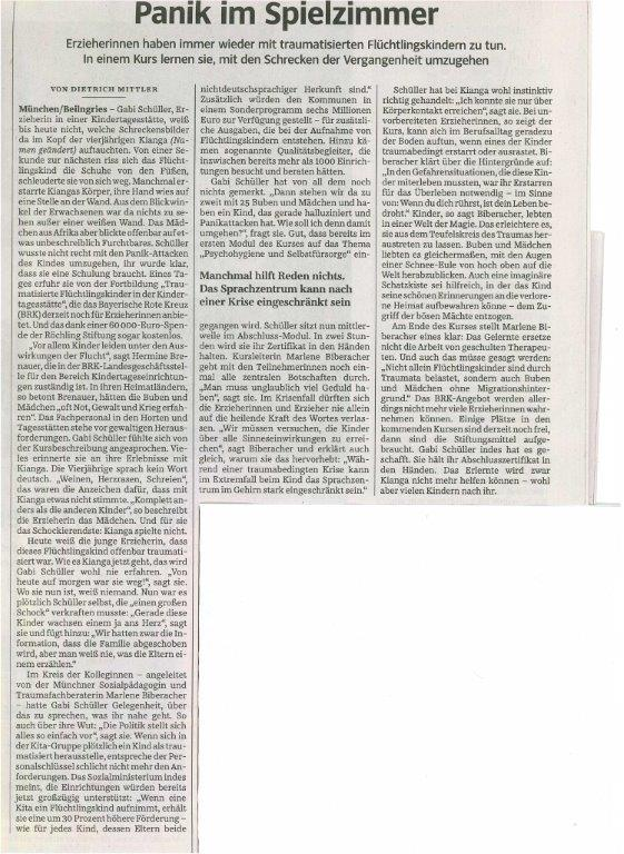 """SZ-Artikel """"Panik im Spielzimmer"""""""